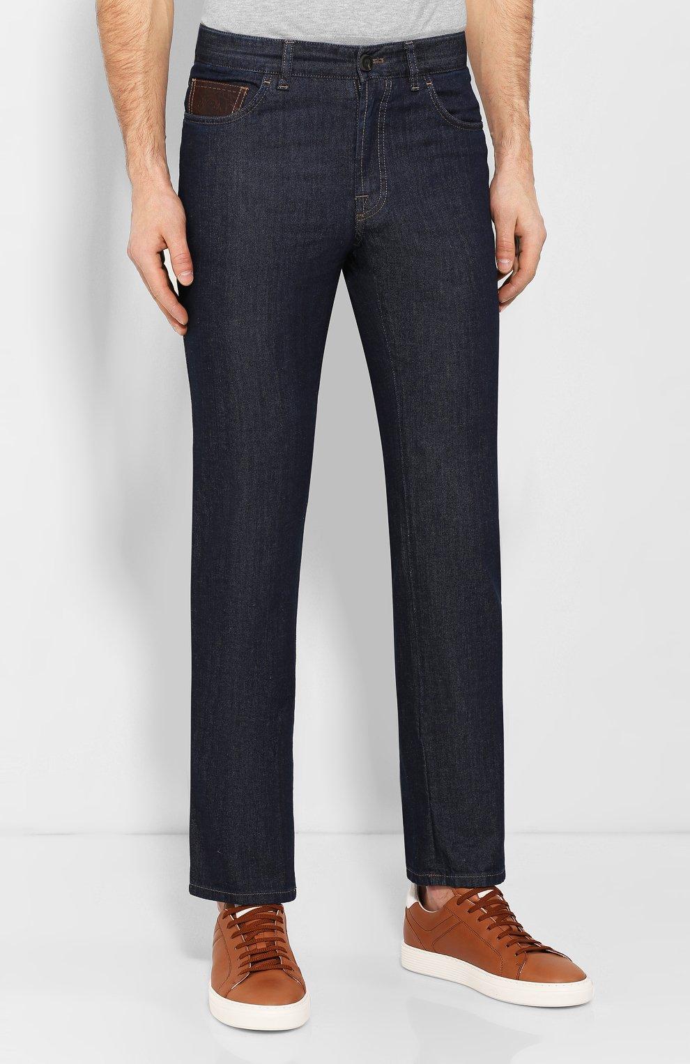 Мужские джинсы с отделкой из кожи каймана BRIONI темно-синего цвета, арт. SPNT0L/P9D45/STELVI0/CYAC | Фото 3