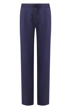 Мужской брюки из смеси шерсти и льна BRIONI темно-синего цвета, арт. RPMJ0L/P9AB9/NEW JAMAICA | Фото 1