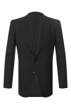 Мужской пиджак из смеси шерсти и шелка TOM FORD темно-синего цвета, арт. 716R10/11A740 | Фото 1 (Длина (для топов): Стандартные; Материал подклада: Купро, Шелк; Рукава: Длинные; Материал внешний: Шерсть; 1-2-бортные: Однобортные; Пиджаки М: Приталенный; Стили: Классический; Случай: Коктейльный)