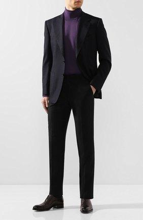 Мужской пиджак из смеси шерсти и шелка TOM FORD темно-синего цвета, арт. 716R10/11A740 | Фото 2 (Длина (для топов): Стандартные; Материал подклада: Купро, Шелк; Рукава: Длинные; Материал внешний: Шерсть; 1-2-бортные: Однобортные; Пиджаки М: Приталенный; Стили: Классический; Случай: Коктейльный)