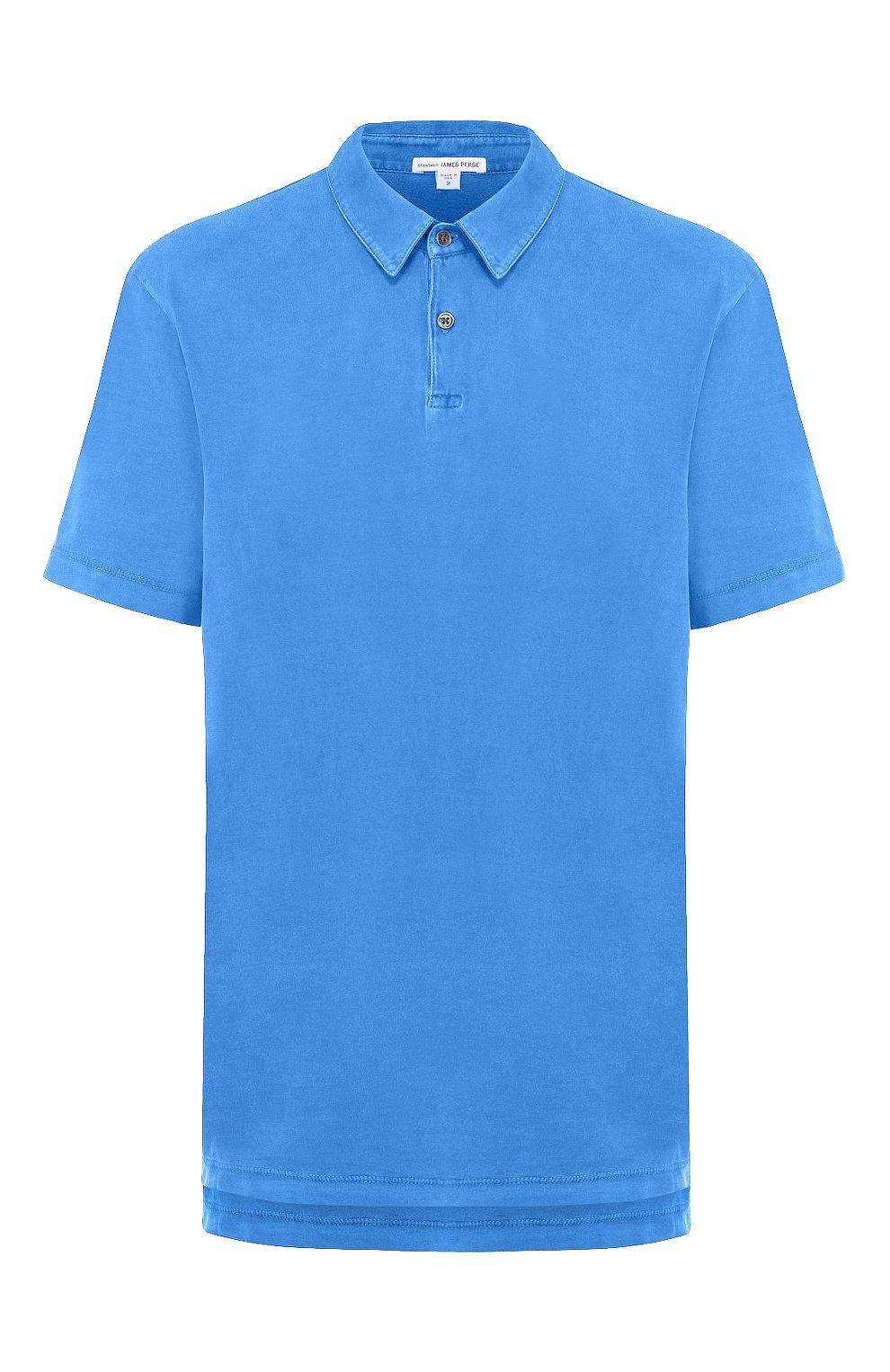 Мужское хлопковое поло JAMES PERSE синего цвета, арт. MSX3337   Фото 1 (Застежка: Пуговицы; Рукава: Короткие; Длина (для топов): Удлиненные; Материал внешний: Хлопок)