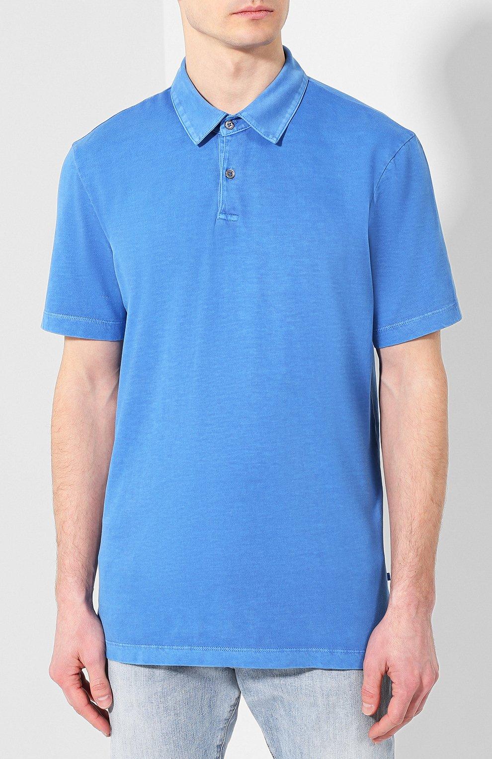 Мужское хлопковое поло JAMES PERSE синего цвета, арт. MSX3337   Фото 3 (Застежка: Пуговицы; Рукава: Короткие; Длина (для топов): Удлиненные; Материал внешний: Хлопок)
