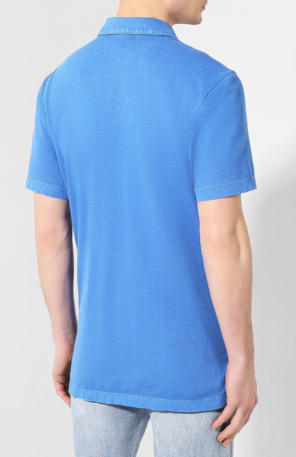 Мужское хлопковое поло JAMES PERSE синего цвета, арт. MSX3337   Фото 4 (Застежка: Пуговицы; Рукава: Короткие; Длина (для топов): Удлиненные; Материал внешний: Хлопок)