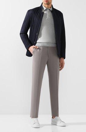 Мужской брюки из смеси хлопка и кашемира ERMENEGILDO ZEGNA серого цвета, арт. 766F03/77TB12 | Фото 2