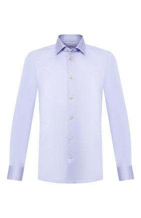 Мужская хлопковая рубашка KITON синего цвета, арт. UMCNERH0721703 | Фото 1