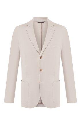 Мужской пиджак из смеси хлопка и шелка LORO PIANA светло-бежевого цвета, арт. FAE8388 | Фото 1