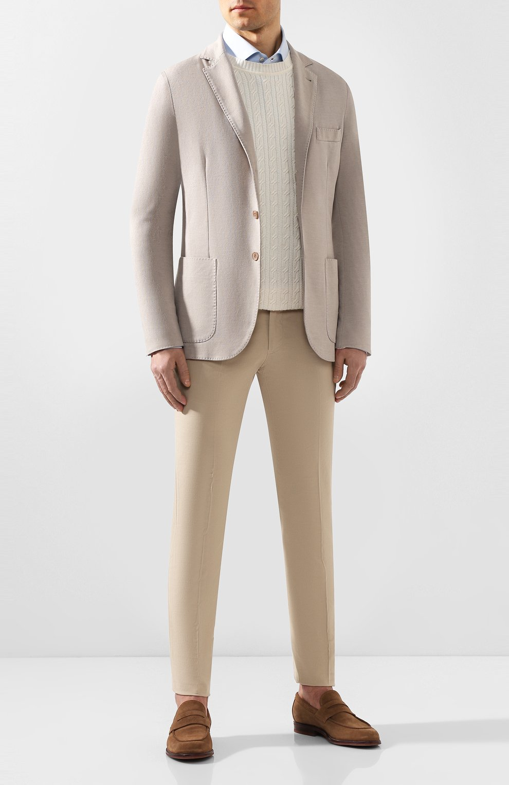Мужской пиджак из смеси хлопка и шелка LORO PIANA светло-бежевого цвета, арт. FAE8388 | Фото 2
