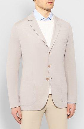 Мужской пиджак из смеси хлопка и шелка LORO PIANA светло-бежевого цвета, арт. FAE8388 | Фото 3