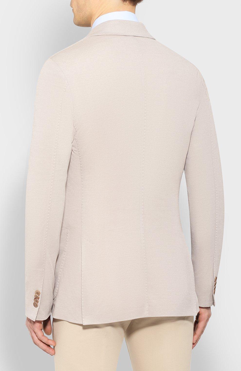 Мужской пиджак из смеси хлопка и шелка LORO PIANA светло-бежевого цвета, арт. FAE8388 | Фото 4