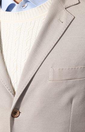 Мужской пиджак из смеси хлопка и шелка LORO PIANA светло-бежевого цвета, арт. FAE8388 | Фото 5