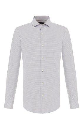 Мужская хлопковая сорочка BOSS серого цвета, арт. 50422235 | Фото 1