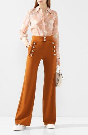 Женские шерстяные брюки CHLOÉ бежевого цвета, арт. CHC20SPA84062 | Фото 2