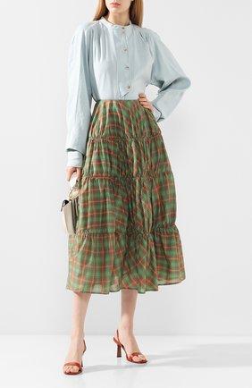 Женская юбка-миди REJINA PYO зеленого цвета, арт. D156/JAPANESE V0ILE   Фото 2