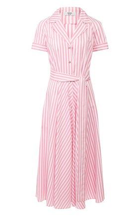 Женское платье из вискозы WEILL розового цвета, арт. 125105 | Фото 1 (Рукава: Короткие; Длина Ж (юбки, платья, шорты): Миди; Случай: Повседневный)