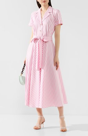 Женское платье из вискозы WEILL розового цвета, арт. 125105 | Фото 2 (Рукава: Короткие; Длина Ж (юбки, платья, шорты): Миди; Случай: Повседневный)