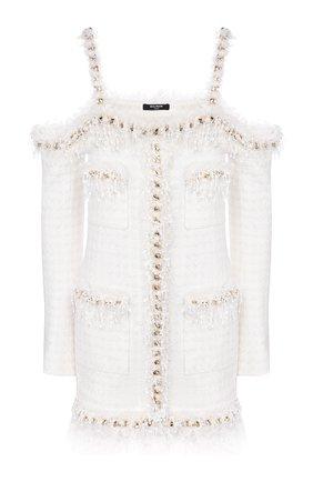 Женское платье BALMAIN белого цвета, арт. TF16223/C229   Фото 1