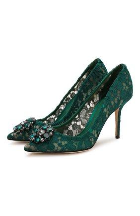 Женская текстильные туфли rainbow lace DOLCE & GABBANA зеленого цвета, арт. 0112/CD0101/AL198 | Фото 1