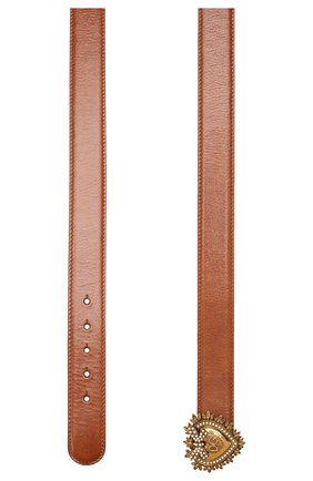 Женский кожаный ремень DOLCE & GABBANA коричневого цвета, арт. BE1315/AX059 | Фото 2