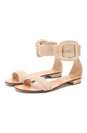 Женские кожаные сандалии CASADEI бежевого цвета, арт. 1L614P010MC06503301   Фото 1