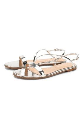 Женские кожаные сандалии GIANVITO ROSSI серебряного цвета, арт. G31202.05CU0.METARGE | Фото 1