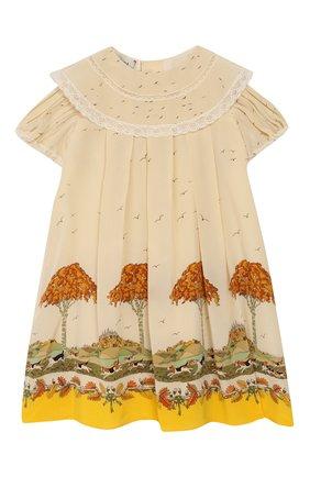 Женский шелковое платье GUCCI желтого цвета, арт. 590556/ZADAP | Фото 1