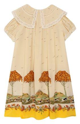 Женский шелковое платье GUCCI желтого цвета, арт. 590556/ZADAP | Фото 2