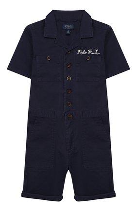 Детский хлопковый комбинезон POLO RALPH LAUREN синего цвета, арт. 322785730 | Фото 1
