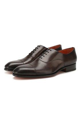 Мужские кожаные оксфорды SANTONI темно-коричневого цвета, арт. MCCR12474JC6I0BRT53 | Фото 1