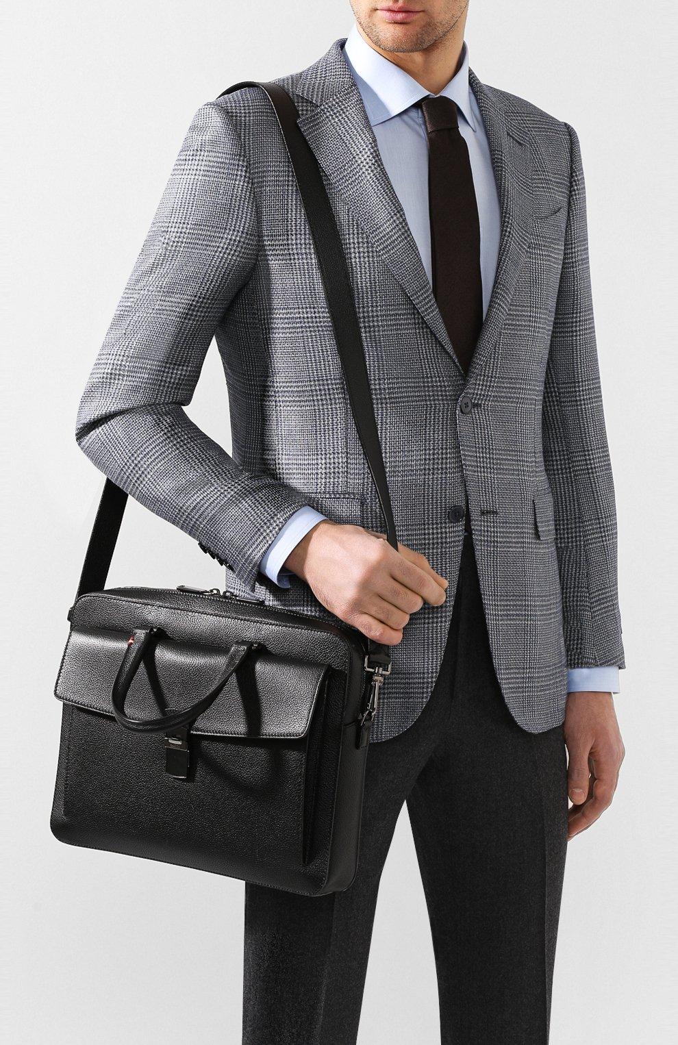 Мужская кожаная сумка для ноутбука gherman BALLY черного цвета, арт. GHERMAN SM | Фото 5
