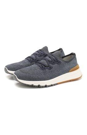 Мужские текстильные кроссовки BRUNELLO CUCINELLI синего цвета, арт. MZUKIS0250 | Фото 1