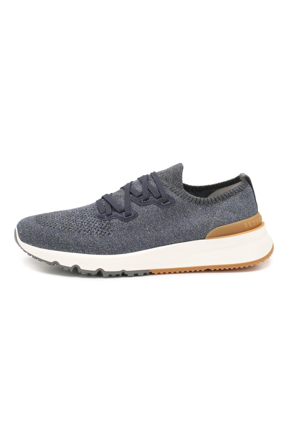 Мужские текстильные кроссовки BRUNELLO CUCINELLI синего цвета, арт. MZUKIS0250 | Фото 3