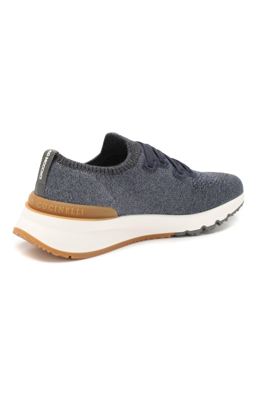 Мужские текстильные кроссовки BRUNELLO CUCINELLI синего цвета, арт. MZUKIS0250 | Фото 4