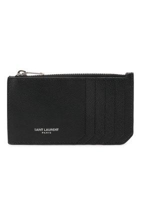 Мужской кожаный футляр для кредитных карт SAINT LAURENT черного цвета, арт. 609362/BTY0N | Фото 1