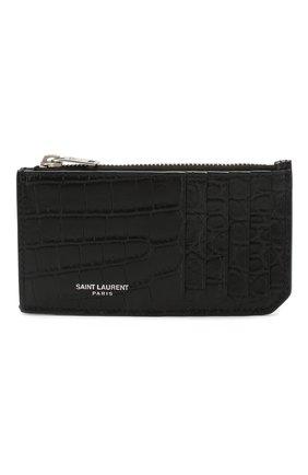 Мужской кожаный футляр для кредитных карт SAINT LAURENT черного цвета, арт. 609362/DZE0E | Фото 1