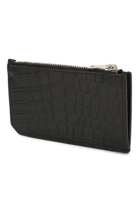 Мужской кожаный футляр для кредитных карт SAINT LAURENT черного цвета, арт. 609362/DZE0E | Фото 2