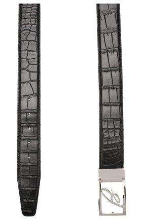 Мужской ремень из кожи аллигатора BRIONI черного цвета, арт. 0BAS0L/P8716/AMIS | Фото 2