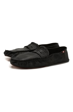 Мужского кожаные домашние туфли BALLY черного цвета, арт. YV0R-U/10 | Фото 1