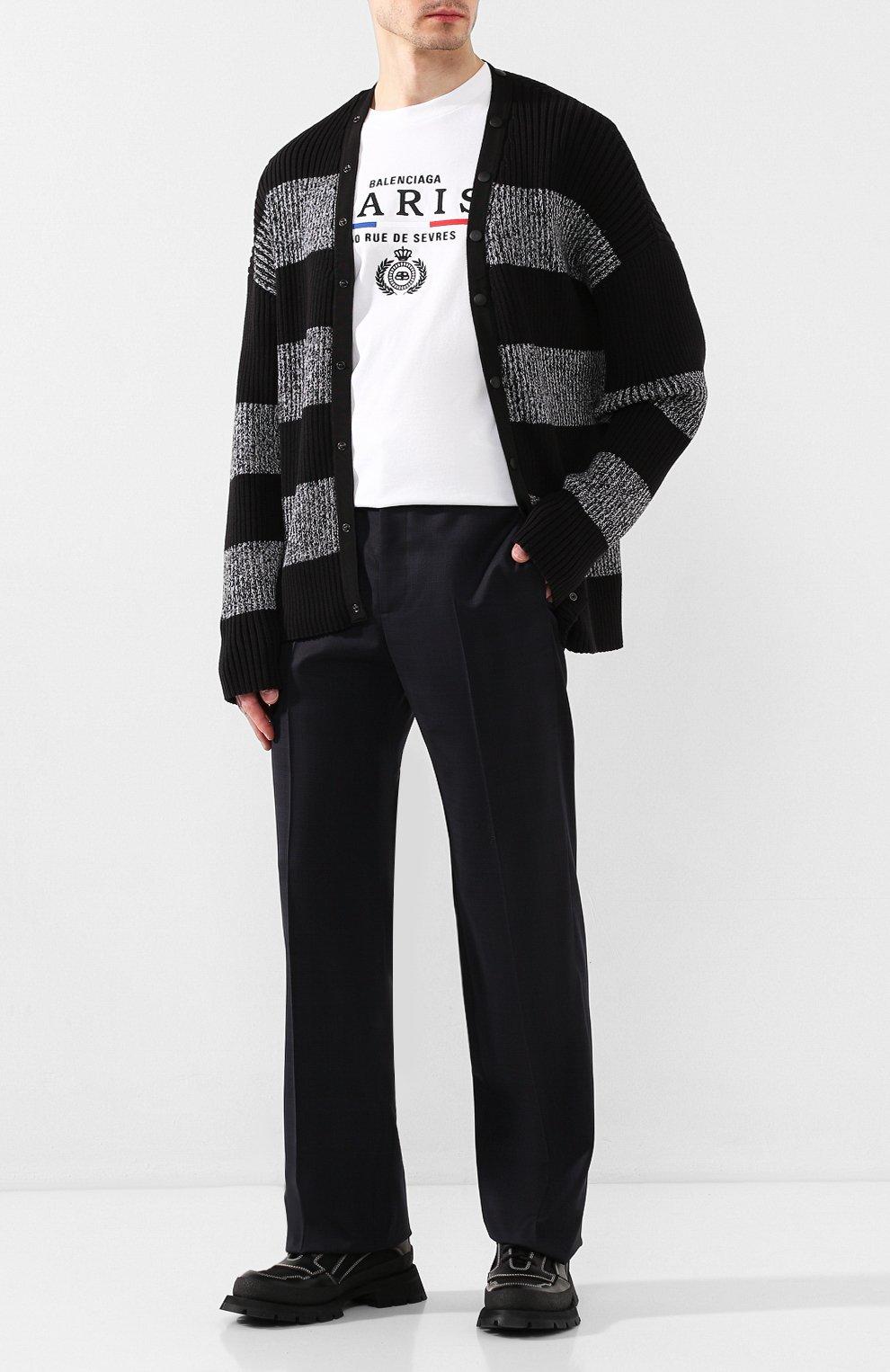 Мужские шерстяные брюки BALENCIAGA темно-синего цвета, арт. 601181/TGT01 | Фото 2