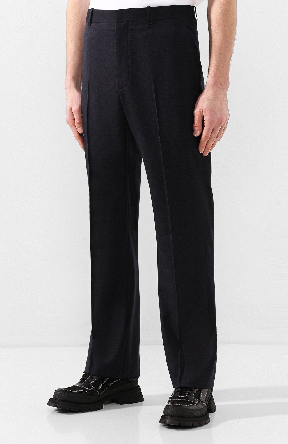 Мужские шерстяные брюки BALENCIAGA темно-синего цвета, арт. 601181/TGT01 | Фото 3