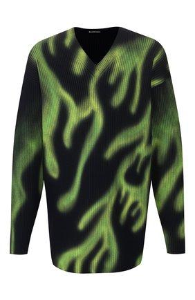 Мужской шерстяной свитер BALENCIAGA зеленого цвета, арт. 599685/T1555 | Фото 1