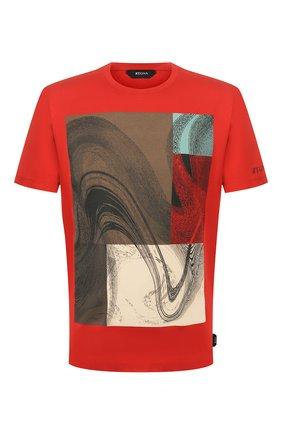 Мужская хлопковая футболка Z ZEGNA красного цвета, арт. VU372/ZZ630W   Фото 1