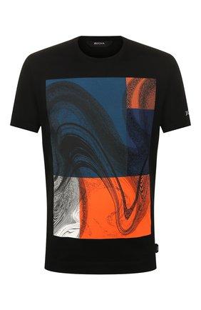 Мужская хлопковая футболка Z ZEGNA черного цвета, арт. VU372/ZZ630W | Фото 1