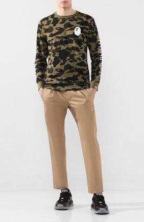Мужской хлопковые брюки BAPE бежевого цвета, арт. 1G30152011 | Фото 2