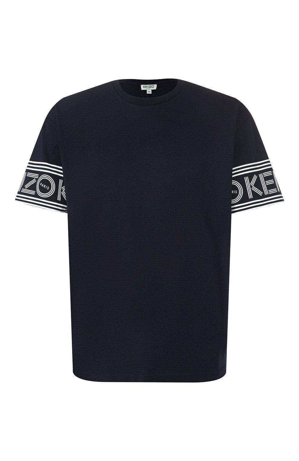 Мужская хлопковая футболка KENZO темно-синего цвета, арт. F565TS0434BD | Фото 1
