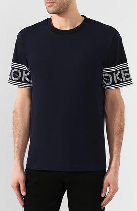 Мужская хлопковая футболка KENZO темно-синего цвета, арт. F565TS0434BD | Фото 3