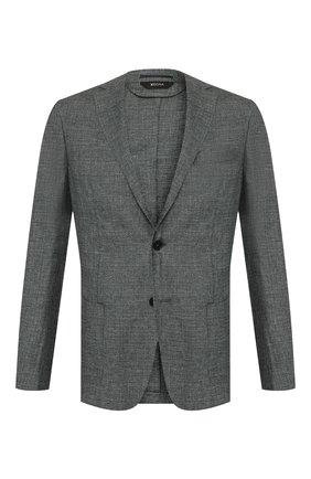 Мужской пиджак из смеси льна и шерсти Z ZEGNA зеленого цвета, арт. 742728/1D7SG0 | Фото 1