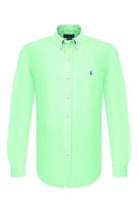 Мужская хлопковая рубашка POLO RALPH LAUREN светло-зеленого цвета, арт. 710736557 | Фото 1