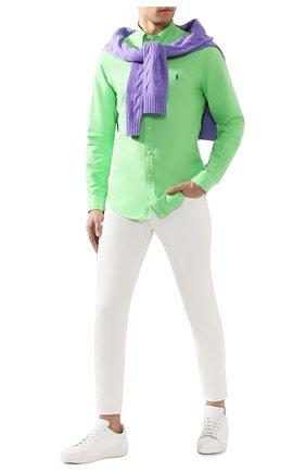 Мужская хлопковая рубашка POLO RALPH LAUREN светло-зеленого цвета, арт. 710736557 | Фото 2