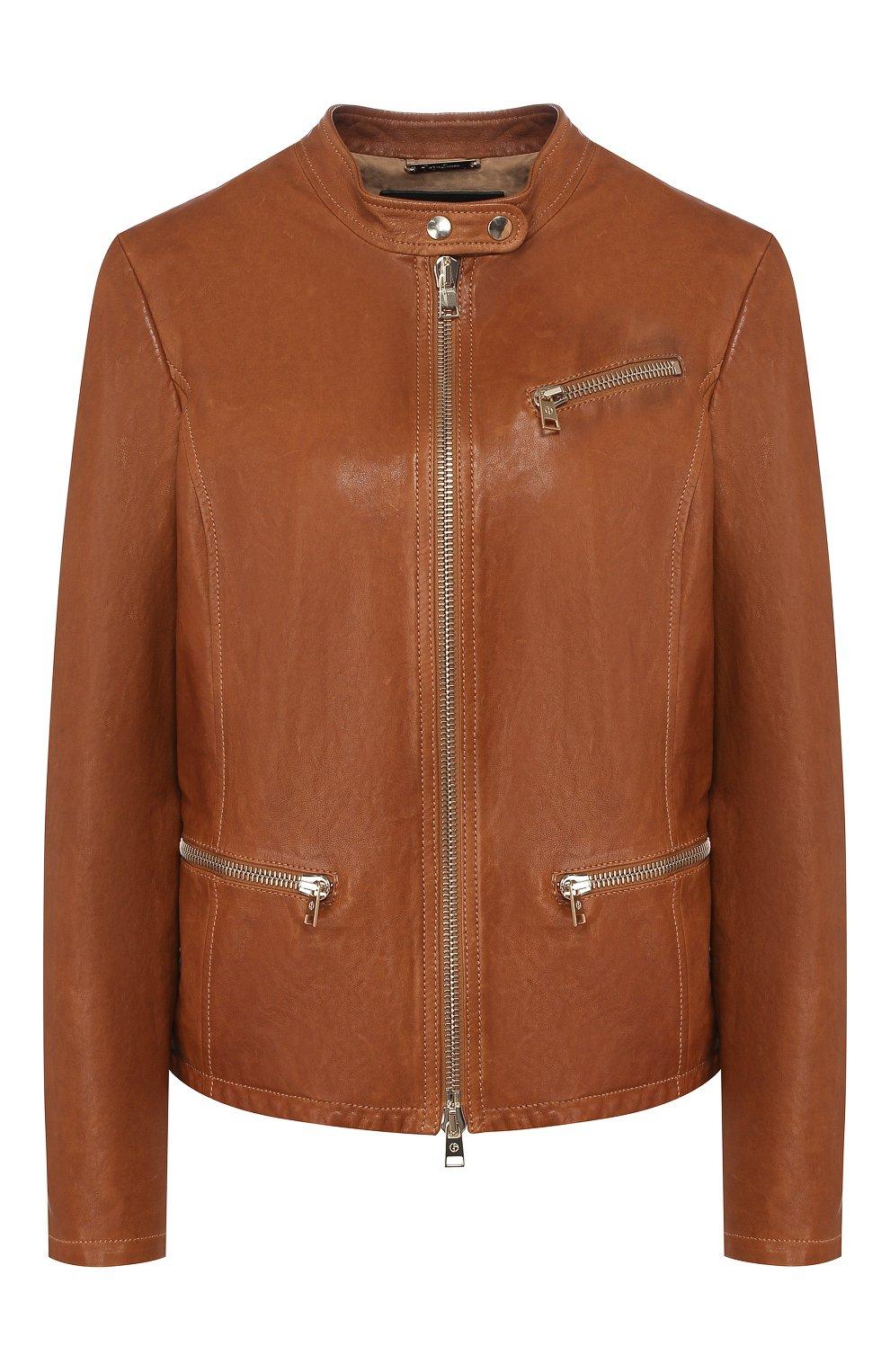 Женская кожаная куртка GIORGIO ARMANI коричневого цвета, арт. 5AB01P/5AP08 | Фото 1