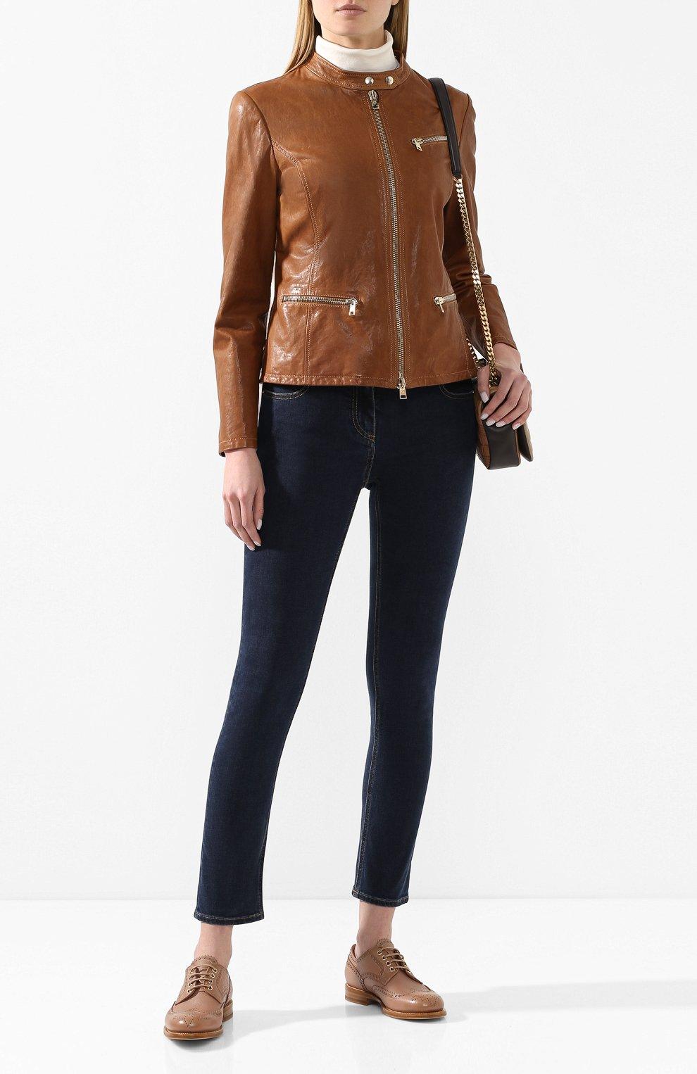 Женская кожаная куртка GIORGIO ARMANI коричневого цвета, арт. 5AB01P/5AP08 | Фото 2